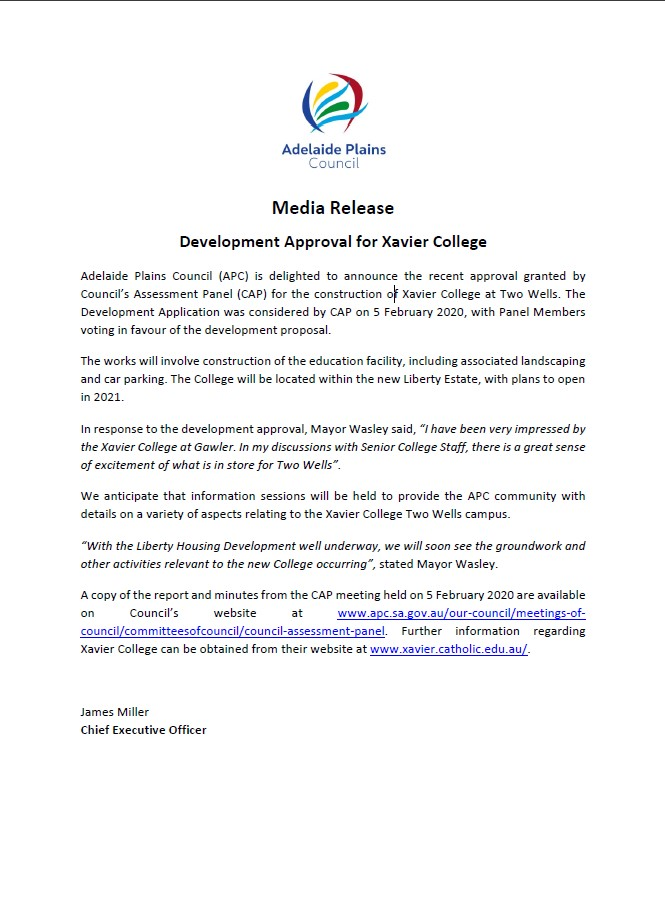 Media Release - Development Approval for Xavier College